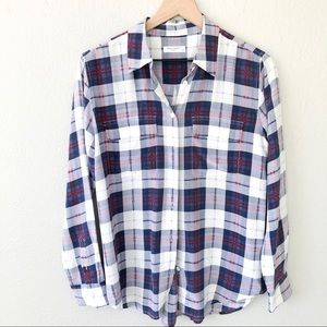Equipment Signature Silk Plaid Button Up Blouse